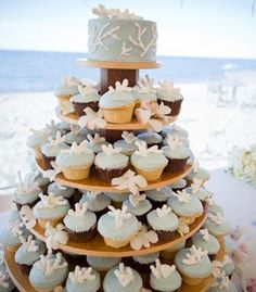 Beach-theme cupcake tower! | Photo by Brea McDonald Photography
