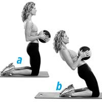 Blast Belly Fat 15 minute workout- THE MATRIX- Grab a five- to 10-pound medicine ball (or dumbbell) and kneel on the floor with your knees hip-width apart. Keep your torso upright and hold the ball against your abs (a). Slowly lean back as far as possible, keeping your knees planted (b). Hold the reclined position for three seconds, then use your core to slowly come up to the starting position. Do 12 to 15 reps.