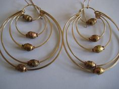 12ktgf hammered multi hoops w gold mala