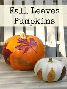 Lovely craft idea from Me and My Shadow: decorating pumpkins with leaves