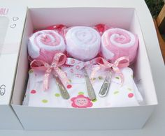 Baby spoon and wash cloth gift.