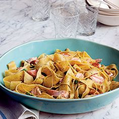 Pappardelle with Salmon and Peas in Pesto Cream Sauce Recipe