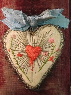 craft, handmad heart, embroid heart, sacr heart, inspir