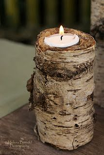 For the rustic table - a piece of wood and a tealight