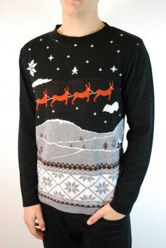 Men's reindeer sleigh scene Christmas jumper at ScaryCanary Clothing
