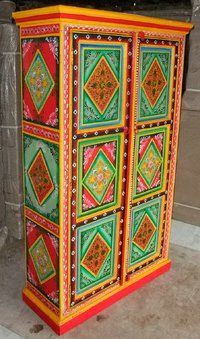 Indian painted cupboard JN2-17, Indian painted furniture painted cupboard, paint cupboard