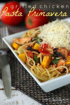 Perfect summer pasta dish- Grilled Chicken Pasta Primavera