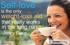 Self-love is the only weight-loss aid that really works in the long run. So true!! | via @SparkPeople #motivation #inspiration #quotes #motivationalquotes #weightloss #diet