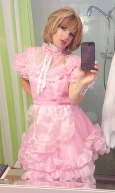 He looks wonderful in his pink and ruffles and petticoats.