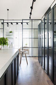 kitchens, track lighting, interior, glass doors, hecker guthri, glasses, black cabinets, design files, sliding doors