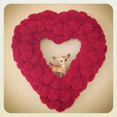 DIY ~ Pom Pom Heart Wreath