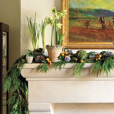Sophisticated & Natural #Christmas Mantel