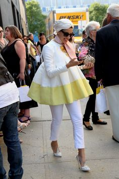 This gal ain't afraid to have a different look. New York Fashion Week street style.