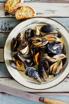 mussels in white wine and cream.