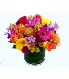 Summer Sunset by @Cactus Flower - a colorful and modern flower arrangement - $124.99