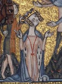 Mary de Bohun wears an ermine-lined mantle tied with red strings. Her ...
