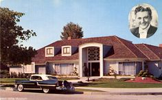 """Home of Liberace, Sherman Oaks, circa 1955. Printed on the back of the postcard, """"Famed TV and motion picture personality, Sherman Oaks, Calif., San Fernando Valley. West Valley Museum."""" San Fernando Valley History Digital Library."""