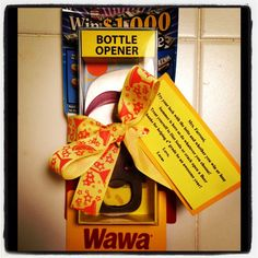 """End of the Year Gift for one of Lucas' 4th Grade Teachers.  I made a poem that read """"Try your luck with the lotto (lottery ticket) and whether you win or lose, Summer is here so do whatever you choose! Treat yourself to Diet Soda (Wawa Gift Card) or crack open a beer (Flip Flop Bottle Opener), Thanks for helping 4th grade be an awesome year!   2014"""
