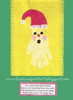 Handprint and Footprint Arts & Crafts: Handprint Santa - My Favorite Christmas Handprint Art!