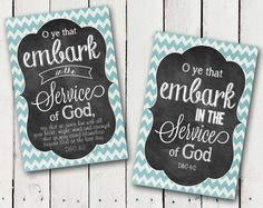 What a Beautiful way to display the 2015 Mutual Theme in a Faux Chalkboard print with a blue chevron boarder. Written on the print is O ye