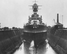 USS Maryland (BB-46) in drydock at Hunters Point, California