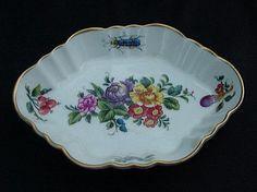 Vista Alegre Mottahedeh Porcelain Tray, Florals, Insects, Gold Rim