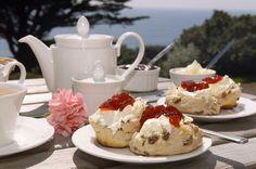 Devonshire Cream tea w/ scones, clotted cream (a lot tastier than it sounds) & stawberry jam