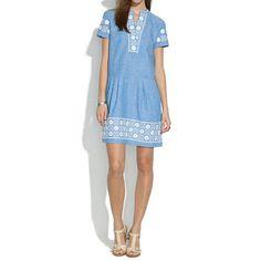 Madewell Chambray Sunstitch Tunic Dress