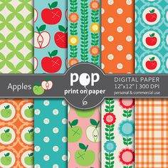 Apples digital paper   10 papers  12x12 inches  by POPprintonpaper, $4.00