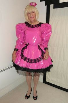 Pink PVC sissy maid Katrina and doesn't she look adorable.