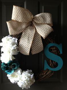 Wreath! front door wreaths, color, front doors, burlap bows, house numbers, big bows, apart, blues, summer wreath