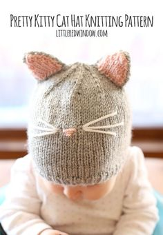"Pretty Kitty Cat Hat Free Knitting Pattern! | <a href=""http://littleredwindow.com"" rel=""nofollow"" target=""_blank"">littleredwindow.com</a>"