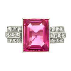 Art Deco Natural Pink Sapphire Diamond Platinum Ring, ca. 1935