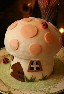 mushroom birthday cake for gnome/fairy themed party