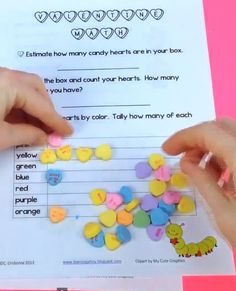 Sweethearts Math FREEBIE by Learning Ahoy! - This is an activity sheet using a box of Candy Hearts for Valentine's Day. It includes counting, estimation, graphing, addition, tally, and odd & even. My 2nd graders always enjoy this activity.