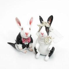 Romantic Bunny Couple Wedding Cake Toppers 00001 Pink Color Scheme Handmade Gift