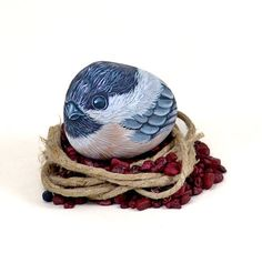 Chickadee stone by Ernestina Gallina
