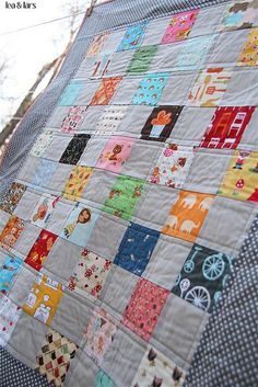 gray patchwork quilt! Cute Fabrics!