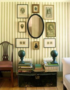 mirror, picture arrangements, wall art, frame, gallery walls, sitting rooms, striped walls, old photos, wall arrangements