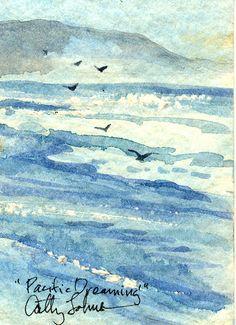 Pacific Dreaming ACEO by CathyJohnsonArt on Etsy  Cathy Johnson painting the ocean