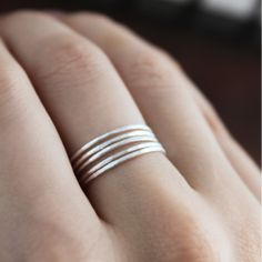 Silver Thread Stacking Rings
