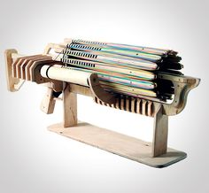 Rubber Band Machine Gun - This is a real, honest-to-God, fully automatic machine gun that fires 14 rubber bands per second.