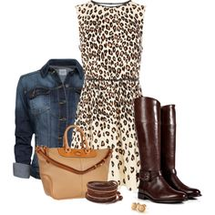 """Animal print + boots"" by mommygerloff on Polyvore"