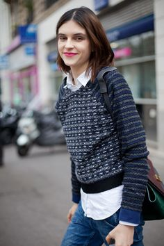 STREET STYLE SPRING 2013: PARIS FASHION WEEK - A bold pink lip and cozy sweater are all a girl needs to get by.