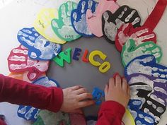 Adorable. Use with friendship wreath idea. seasonal wreaths, the doors, handprint, craft, classroom door, first week activities, hand prints, teacher, back to school