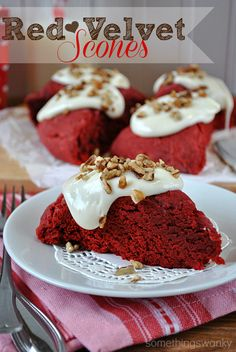 Red velvet scones made with cake mix - easy and yummy!!