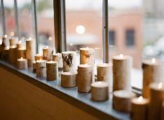 birch log candle holders as #weddingdecor - photo by Ryan Ray - http://ruffledblog.com/earthy-chic-dallas-wedding/