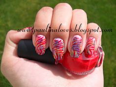 Tie dye Zebra nails.  Sponged colors.