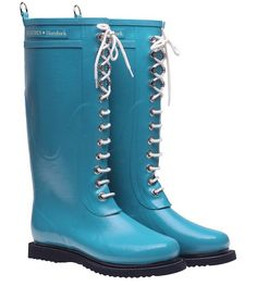 turquoise rubber boots