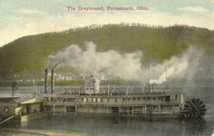 """In the early 1800's, steamboats were built in Portsmouth. The first steamboat built in Scioto County was called the """"Herald"""", later changed to the """"Ohio"""".  As a port along the Ohio River, many steamboats that traveled the Ohio, made stops at Portsmouth.   The produce that came down the canal was transferred to the steamboats for delivery to cities along the river. This made Portsmouth a prosperous river town."""